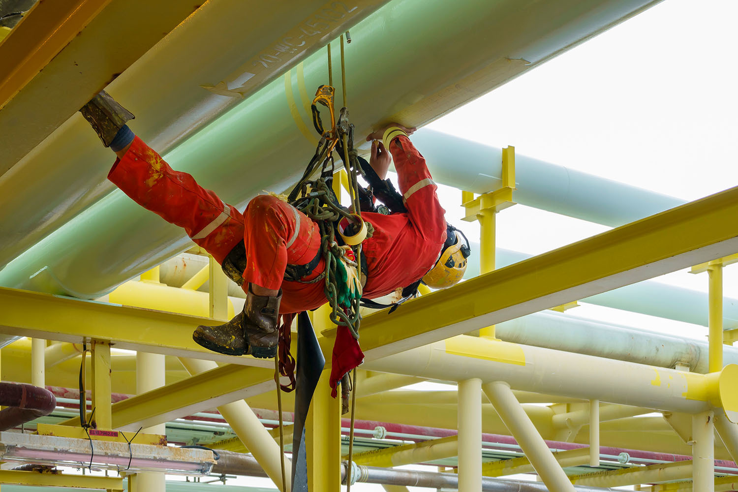 Maintenance engineer on an oil rig